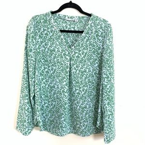 Halogen Women's Long sleeve blouse green White med
